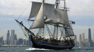 "The ""HMS Bounty"" sails past the Chicago"