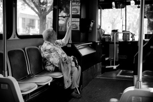 people on the bus... old woman [b&w]