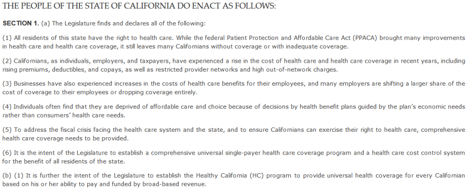 SB-562 The Healthy California Act.
